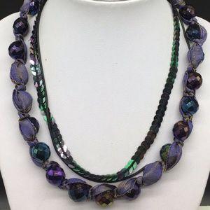 Chico's Black Purple Beaded Statement Necklace